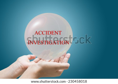 Businessman Hand Showing ACCIDENT INVESTIGATION - stock photo