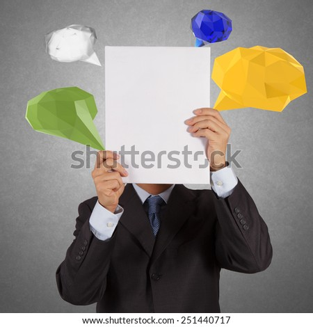 businessman hand showing blank book with low poly geometric speech bubble