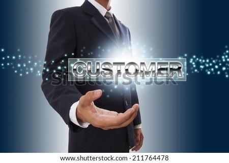 Businessman hand showing customer button on virtual screen. - stock photo