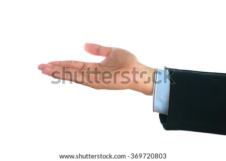 Businessman'hand showing gesture isolated on white background.