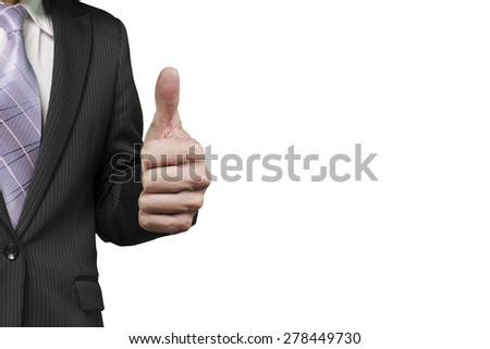 Businessman hand showing thumb up against white background - stock photo