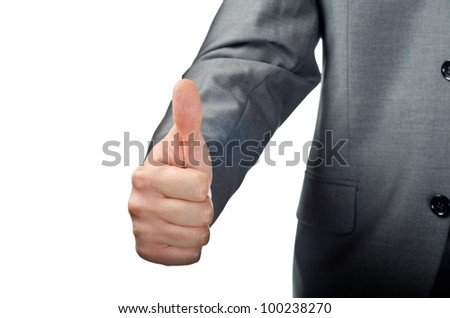 Businessman hand showing thumbs up isolated on white - stock photo