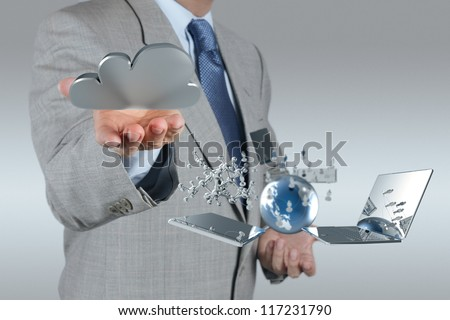 businessman hand shows cloud network and new technology symbol concept - stock photo