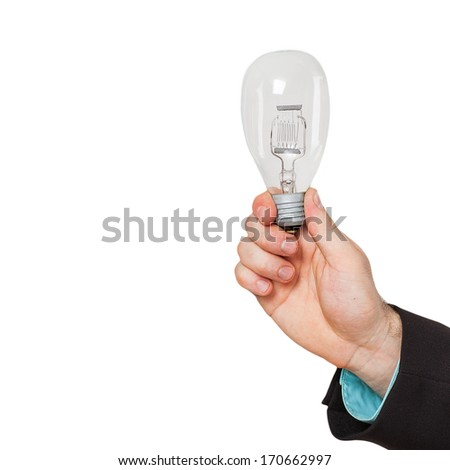 Businessman hand shows Light bulb