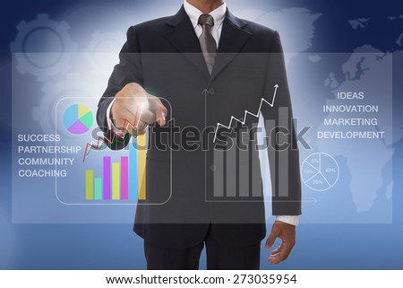 businessman hand touch chart business on virtual screen - stock photo
