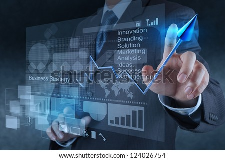 businessman hand touch 3d virtual chart business - stock photo