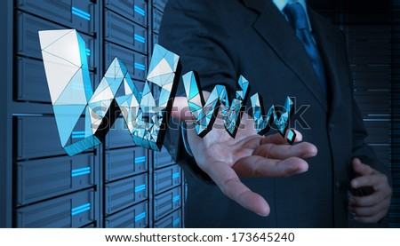 businessman hand touch handdrawn WWW. as internet concept - stock photo