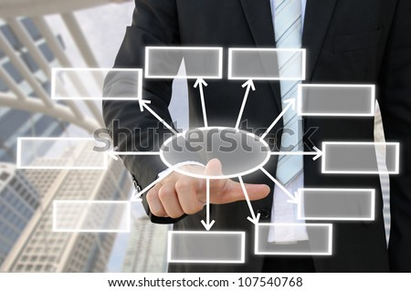 Businessman hand touch screen button of 10 choices blank chart with building background - stock photo