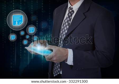 Businessman hand touch screen pdf icons on a tablet. internet and technology concept. - stock photo