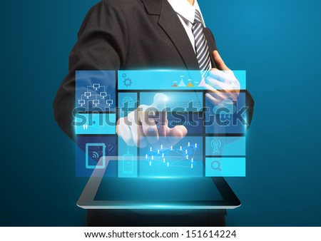 Businessman hand touch screen with technology business concept, Creative network information process diagram - stock photo