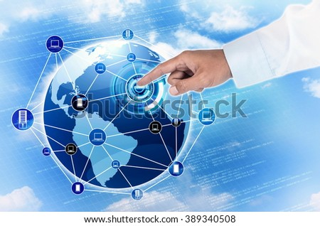 Businessman hand touch  the connection to global internet network