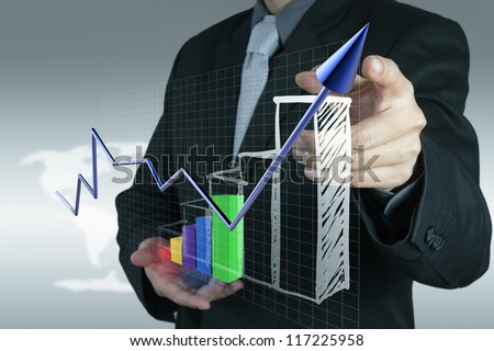 businessman hand touch virtual chart business - stock photo