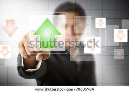businessman hand touch virtual graph,chart, diagram - stock photo