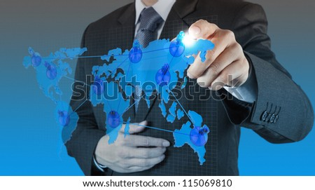businessman hand touch virtual social network concept - stock photo