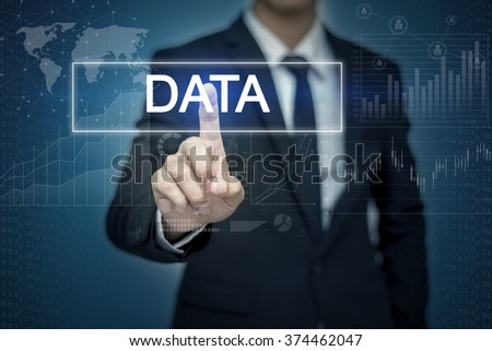 Businessman hand touching DATA button on virtual screen