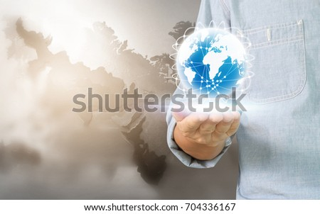 Businessman hand touching  point data network connection