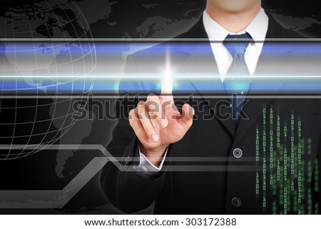 Businessman hand touching  screen by concept for sample text.