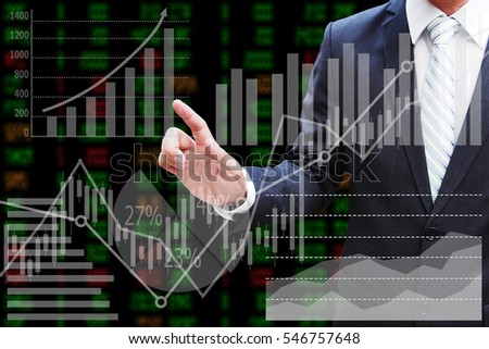 Businessman hand touching the virtual panel of pie chart and other chart , business concept