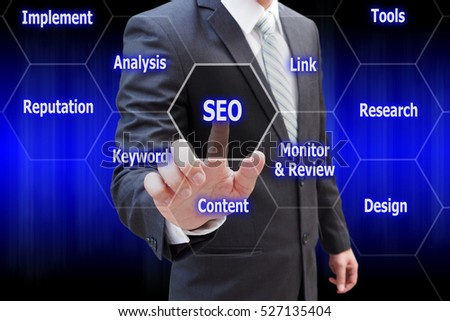 Businessman hand touching virtual panel of SEO Search optimization , Business technology concept