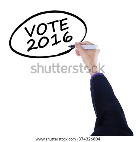 Businessman hand using marker to write a text of vote 2016 on the whiteboard - stock photo
