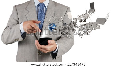 businessman hand using touch screen mobile phone as technology concept - stock photo
