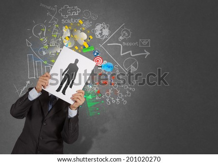 businessman hand with book choosing people icon as human resources concept  - stock photo