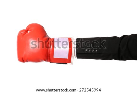 Businessman hand with boxing glove isolated on white - stock photo