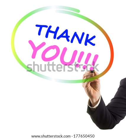 businessman hand with felt tip marker writing text thank you - stock photo