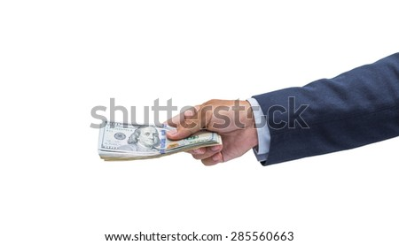Businessman hand with money, United stage dollar bill; clipping path