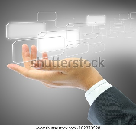 businessman hand with touch screen interface
