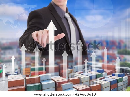 businessman hand working touch and analysis on high for Industrial Container Cargo Logistic Import Export,(Elements of this image furnished by NASA) - stock photo