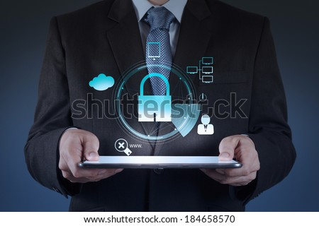 Businessman hand working with a Cloud Computing diagram on the new computer interface as concept security - stock photo