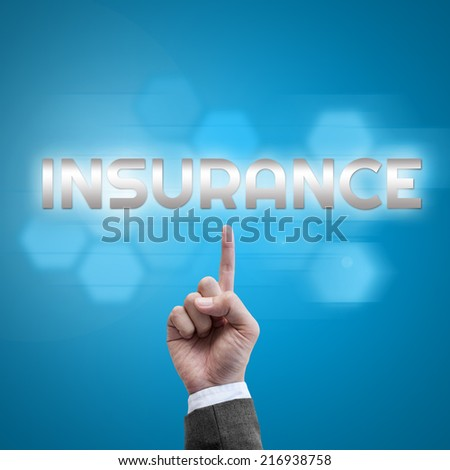 Businessman hand working with modern computer interface as Insurance concept - stock photo