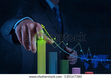 businessman hand working with virtual chart business on touch screen computer as concept - stock photo