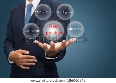 businessman hand write a best practice - stock photo
