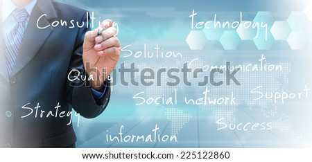 businessman hand writing  - stock photo