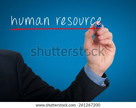 Businessman hand writing Human Resource in the air. Blue - Stock Photo - stock photo