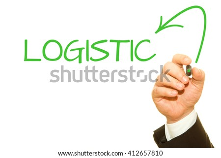 Businessman hand writing LOGISTIC word.