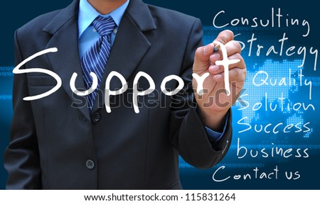 businessman hand writing support - stock photo