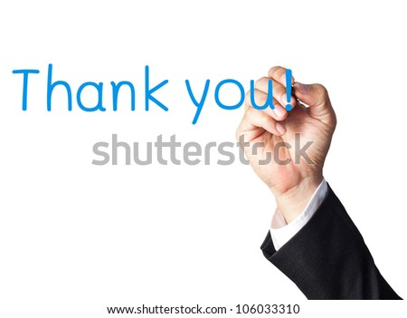 businessman hand writing thank you on white board - stock photo