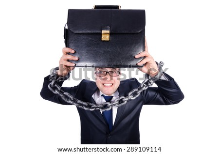 Businessman handcuffed isolated on white - stock photo