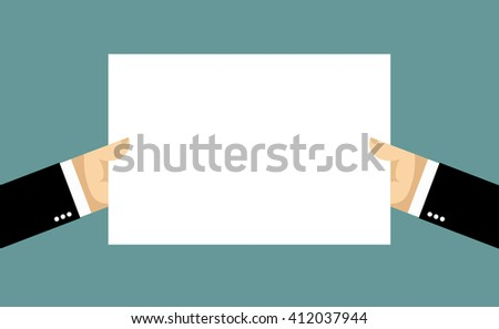 Businessman hands and billboard. Two hands hold white sheet of paper. Blank banner space for your text