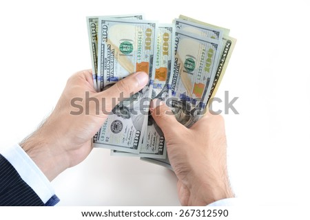 Businessman hands counting money,US dollar (USD) bills, on white background