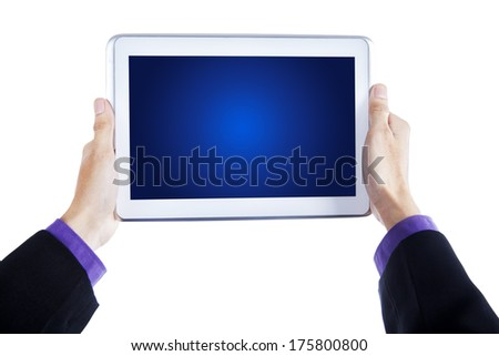 Businessman hands holding a tablet computer isolated on white background