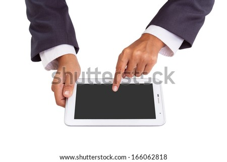 Businessman hands holding and pointing on contemporary digital frame with blank screen.  - stock photo