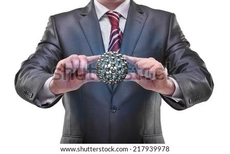 businessman hands holding atom Isolated on white background  - stock photo