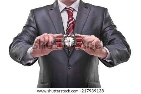 businessman hands holding bomb Isolated on white background  - stock photo