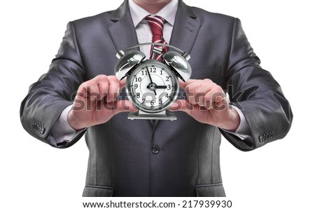 businessman hands holding clock Isolated on white background  - stock photo