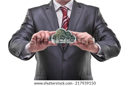 businessman hands holding cloud Isolated on white background  - stock photo