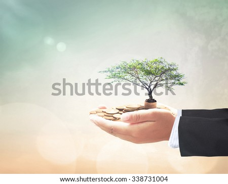 Businessman hands holding golden coins with big tree over blurred beautiful city, sea, ocean, forest, desert over colorful sunset background. Development plan, Investment, Money, ROI, LIT concept. - stock photo